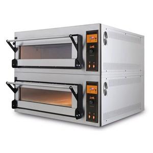 FOUR électrique pour PIZZA, pain et gâteaux-Mod. Plafond de chambre réfractaire ou réfractaire US 4-1 et Plan d'étage-statique faible puissance consommation-l'humidité-régulation vanne dimensions de chambre de 83 x p 84 x h 18 cm L-# 4 Pizzas (Ø 40)-# 2 plateaux 60x40cm-6,9 Kw de puissance-puissance d'alimentation 3ph 400v-CE