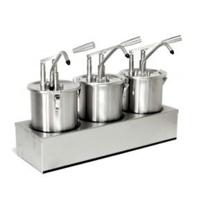 COUVERCLE POUR DISPENCER À LEVIER - Mod. DIS E1 - En acier inox - Idéale pour consommations élevées- Convient pour sauces froides et denses, miel - Portion sauce 40 ml réglable - Adaptable pour récipients de 8, 9 et 10 lt - Dim. ø 27,5 x h 44 cm - Norme CE