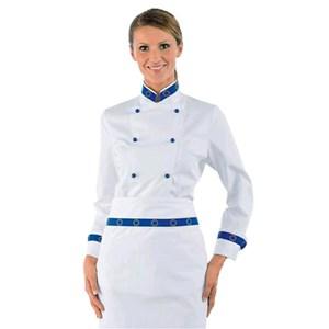 EURO-LADY JACKET MOD. 057599-100 % coton-blanc avec blue STRIPE LOGO boutons ronds sur les poignets et col-col EUROPEAN DESIGN élégant
