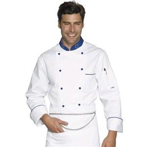 CHEFJACKET EUROCHEF-MOD. 057099-100 % coton-DOUBLE BREASTED STYLE-bleu rond poches boutons-poitrine et bras-blanc avec des bandes bleues sur le col et les poignets bleu-poche poitrine avec LOGO brodé de l'Europe