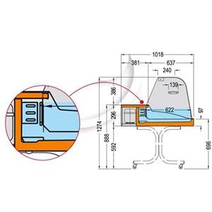 PRÉSENTOIR RÉFRIGÉRÉ DE SUPPORT - SÉRIE SUPEREURONORM/C - STRUCTURE EN ACIER INOX - Temp. °C +2/+4 - MONOPHASÉ - STATIQUE - VERRE BOMBÉ - PORTES COULISSANTES  EN PLEXIGLASS - PROFONDEUR PLAN D'EXPOSITION: 62,2 CM