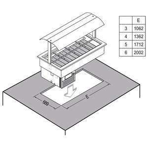 CUVE D'EXPOSITION EMPOTRABLE RÉFRIGÉRÉE - MOD. SAMBA RUGIADA - POUR GASTRONOMIE - Temp. °C -1/0 - VOLTAGE MONOPHASÉ V 230/1/50 Hz - RÉFRIGÉRATION STATIQUE - GAZ RÉFRIGÉRANT R290 - DÉGIVRAGE MANUEL