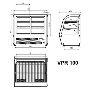 VITRINE RÉFRIGÉRÉE  POUR COMPTOIR SNACK EN ACIER INOX AISI 430 - VITRE BOMBÉE - Mod. G-VPR100 - Température +2°/+8°C - Capacité Lt. 100 - Monophase 230V/1/50Hz - Puissance W 150 - Dim. 69,5 x46,2 x67 - Poids 57 Kg