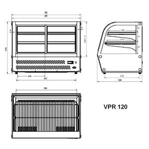 VITRINE RÉFRIGÉRÉE POUR COMPTOIR SNACK EN ACIER INOX AISI 430 - VITRE BOMBÉE - Mod. G-VPR120 - Température +2°/+8°C - Capacité Lt. 120 - Monophase 230V/1/50Hz - Puissance W 160 - Dim. 69,5 x58 xh67 cm- Poids 70 Kg