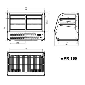 VITRINE RÉFRIGÉRÉE POUR COMPTOIR SNACK EN ACIER INOX AISI 430 - VITRE BOMBÉE - Mod. G-VPR160 - Température +2°/+8°C - Capacité Lt. 160 - Monophase 230V/1/50Hz - Puissance W 160 - Dim. 87,3x58 xh67 cm - Poids 75 Kg