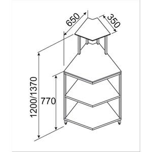 PIZZA COUNTER/BAR/épicerie interne neutre-45 ° Mitre coin-demi-finales de panneau-MOD. BNB4520231VB-BASSE-DIM. d 65 x 137 x h 65 cm-CE