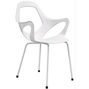 CHAISE/FAUTEUIL DAPHNE-MOD. 154-4 jambes d'acier avec accoudoirs-polypropylène et polyéthylène téréphtalate-chromé finition/SATIN CHROME pour INDOOR-Outdoor/Indoor peinture finition-empilable-Pack # 4-DIM. Cm 57 x p 55 x H L 86-CE