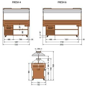 PRÉSENTOIR ÎLOT À BUFFET RÉFRIGÉRÉ - MOD. FRESHM - STRUCTURE EN BOIS - Temp. °C -1/0 - RÉFRIGÉRATION STATIQUE - GAZ RÉFRIGÉRANT R290 - DÉGIVRAGE AUTOMATIQUE - VOLTAGE MONOPHASÉ V 230/1/50 Hz