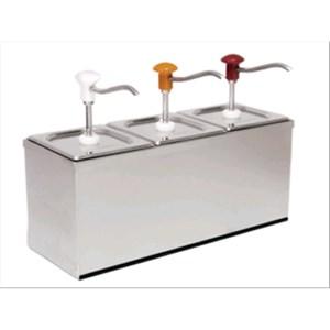 TRIPLE DOSEUR POUR SAUCES  - Mod. DIS B3 - En acier inox aisi 304 - Convient pour sauces froides e dense - Capacité  3 x 3 lt - Portion sauce  30 x 3 ml réglable - Dim.60,5 x 20,5 x h 43,5 cm - Norme CE