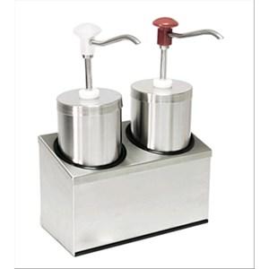 DOUBLE DOSEUR CYLINDRIQUE POUR SAUCES - Mod. DIS C2 -En acier inoxydable - Convient pour sauces froides,denses, miel - Capacité 2,25 x 2 lt- Portion sauce  30 x 2 ml réglable - Dim.29 x 14,5 x h 47 cm - Norme CE