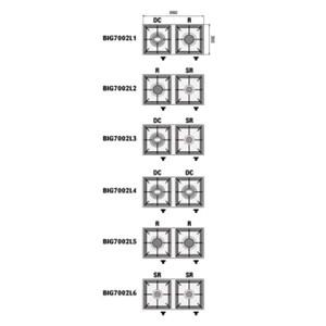 PLAN DE CUISSON 2 FEUX À GAZ - MOD. BIG7002L - FLAMME PILOTE  - 2 BRÛLEURS À GAZ  (il est possible de composer les combinaisons ) - Puissance  kW 3, 4,5 o 6,5 selon la composition - DIMENSIONS  cm L 66 x P 35 x 17 h