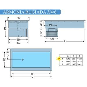 CUVE D'EXPOSITION EMPOTRABLE RÉFRIGÉRÉE - MOD. ARMONIA RUGIADA - POUR GASTRONOMIE - Temp. °C -1/0 - VOLTAGE MONOPHASÉ V 230/1/50 Hz - RÉFRIGÉRATION STATIQUE - GAZ RÉFRIGÉRANT R290 - DÉGIVRAGE MANUEL