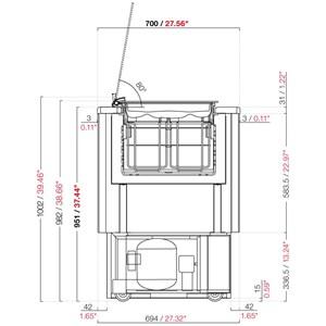 COMPTOIR À GLACES POZZETTI SANS RÉSERVE - MOD. FAST 4 - VENTILÉ - ALIMENTATION 230V/50Hz MONOPHASÉE - 4 POZZETTI - MOTEUR À BORD - DIM. L 80 x P 70 x h 100,2 cm