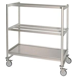 CHARIOT avec étagères et APPENDISALUMI Mod. VOITURE APPSAL 2-aluminium frame-2 # appendisalumi étagères à 2 et 3 bars-# 1 plaine haut-roues-taille 60 x 120 cm p x d 165 hrs