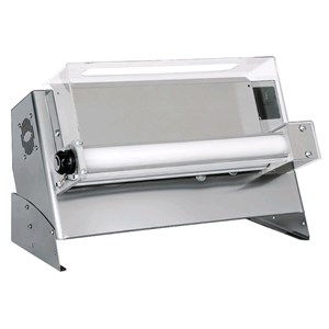 FAÇONNEUSE À PIZZA - LAMINOIR PIZZA - MONORULEAUX ET PÉDALE ÉLECTRIQUE - mod. DMA 500/1 - Puissance hp 0,33 -  230 V monophase - Dim. 65 x  34,5 x h43 cm  - Poids Kg 27 - Dim. pizza 26/45 cm - Norme CE