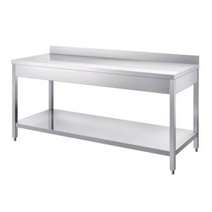 Table de travail inox - jambes carrées - avec rayon inférieur - plan dessus épaisseur cm 4 - inox 8/10 - avec rebord