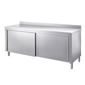 Table armoires inox avec portes coulissantes renforcés - plan dessus épaisseur cm 4 - inox 8/10 -avec rebord