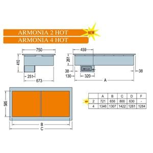 CUVE D'EXPOSITION EMPOTRABLE CHAUFFANTE AVEC PLAQUES EN VITROCÉRAMIQUE - MOD. ARMONIA HOT - POUR GASTRONOMIE - TEMPÉRATURE°C +30/+90 - VOLTAGE MONOPHASÉ V 230/1/50 Hz - BACS COMPATIBLES GN 1/4, 1/3, 1/2, 2/3, 1/1, 2/1