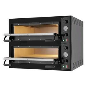 FOUR ÉLECTRIQUE À PIZZA - Mod. BLACK 44 - 2 chambres - Surface de cuisson en  pierre réfractaire - Dimensions chambre L 66 x P 66 x h 14 cm - 4+4 Pizzas (Ø 33 cm) - Puissance 9.4 kW - Norme CE