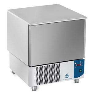 CELLULE DE REFROIDISSEMENT  - MOD.AB05 - Refroidissement à air - CAPACITÉ plaques: N.5 x GN 1/1 (53x32,5 ou 60x40 cm) - CAPACITÉ de refroidissiment: +70° +3° (23 Kg) -  CAPACITÉ de surgelation: +70° -18° (12 Kg) - Dim. extérieures 77x76xh86/90 - Norme CE