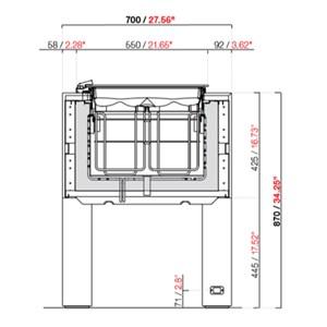 VITRINE À GLACES SANS RÉSERVE - MOD. BELLEVUE TUBS - FROID VENTILÉ - ALIMENTATION 230V/50HZ MONOPHASÉE - MOTEUR À BORD - HAUTEUR 87 cm